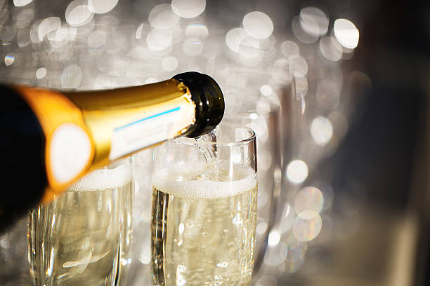 glasses of champagne - crystal glassware stock photos and pictures