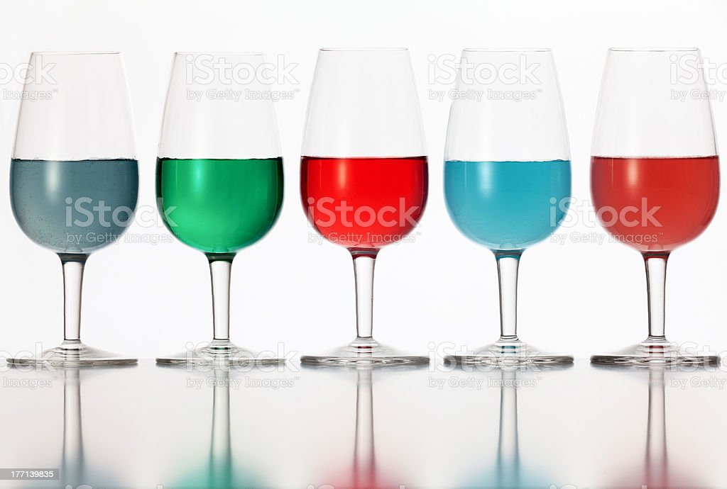 glasses of colored liquid royalty-free stock photo