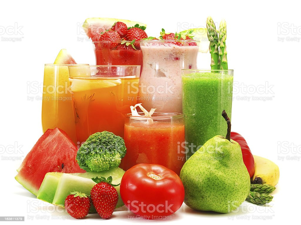 Glasses of colorful smoothies with fruits and vegetables royalty-free stock photo