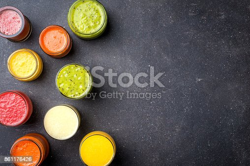 Glasses of fresh juice. Top view