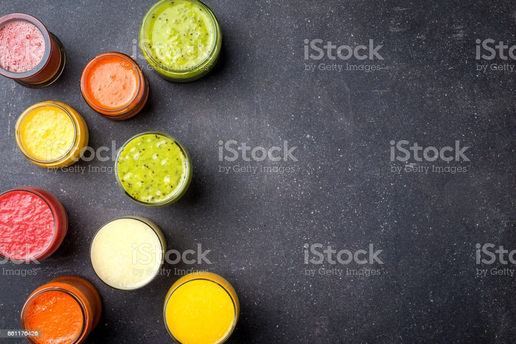 Glasses of fresh juice stock photo