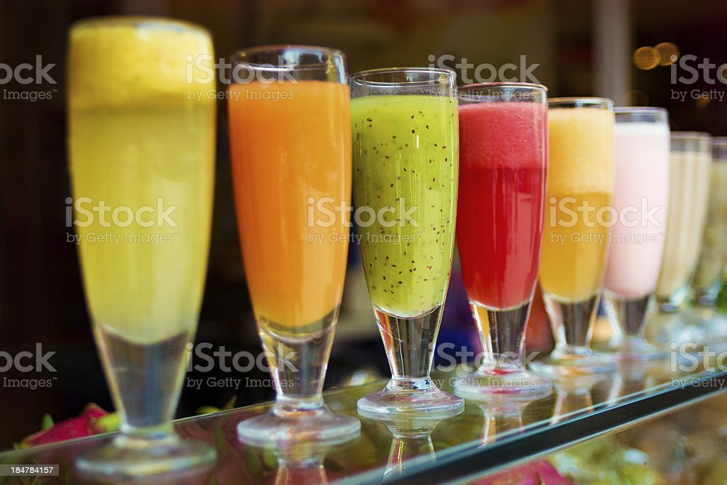 Glasses of fresh various juices stock photo