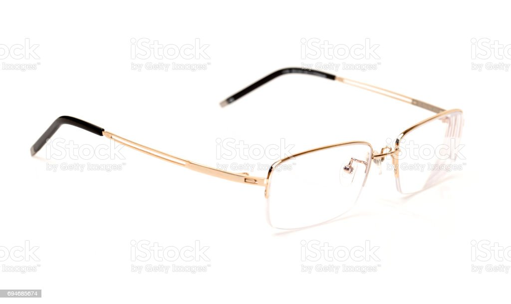 Glasses of gold color  on the white background stock photo
