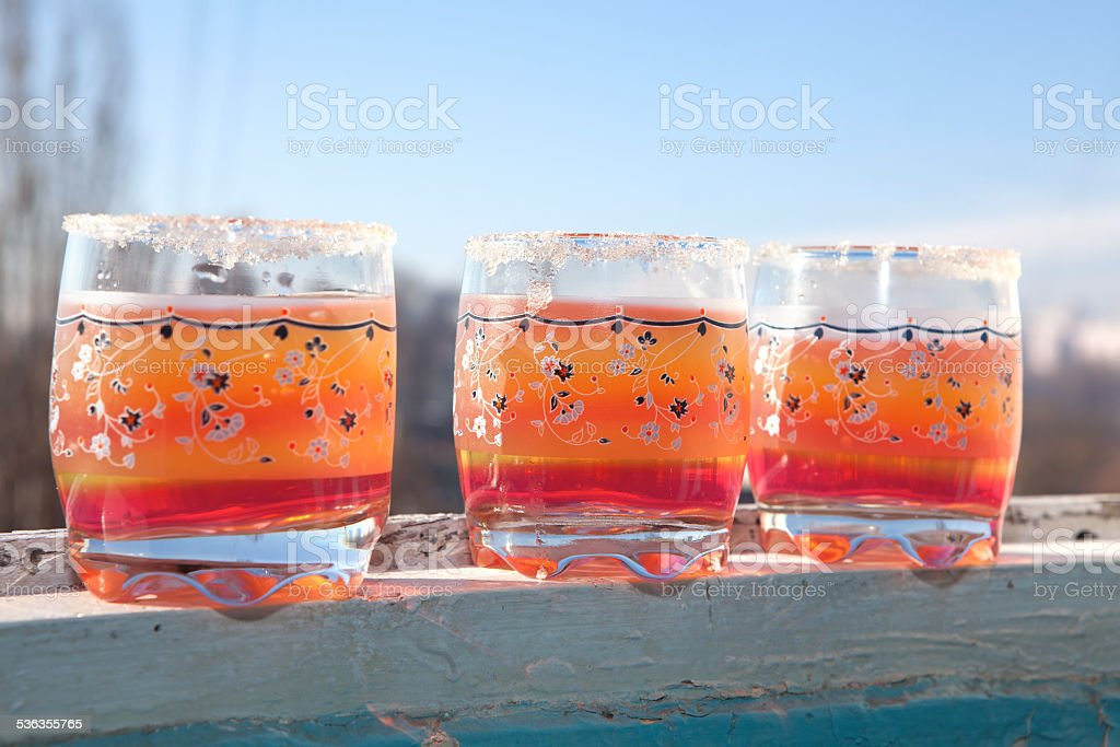 glasses of juice stock photo