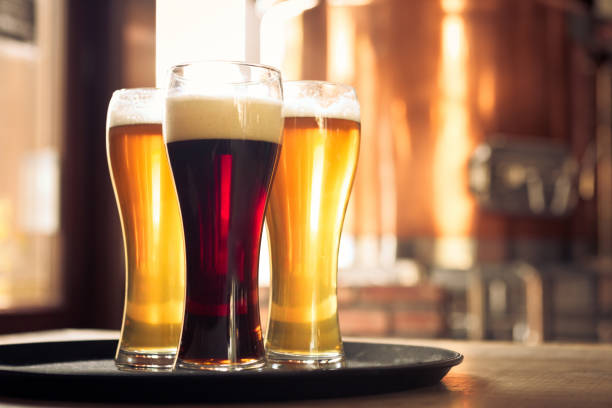 glasses of lager and ale beer in front of copper vat - beer glass stock photos and pictures