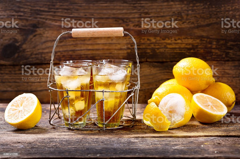 glasses of lemon ice tea royalty-free stock photo