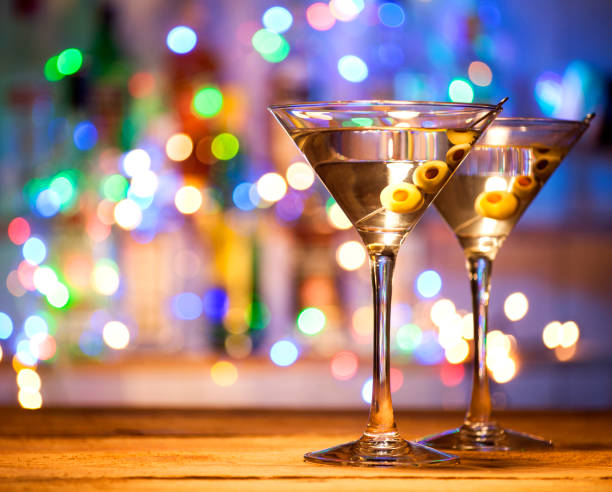 Glasses of martini coctail stock photo