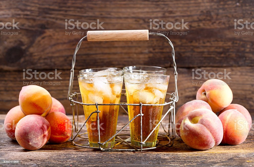 glasses of peach iced tea royalty-free stock photo