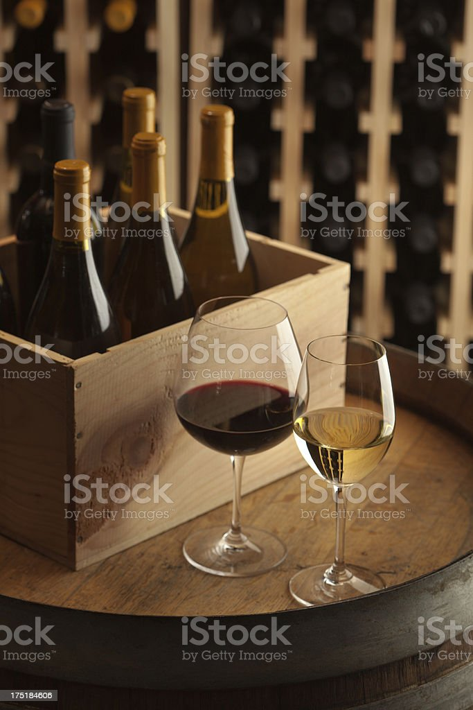 Glasses of Red and White Wine in Cellar Vt royalty-free stock photo