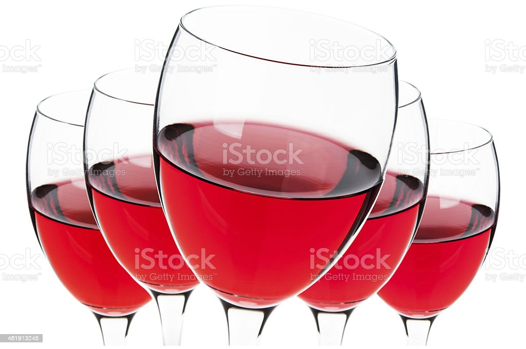 Glasses of red wine isolated royalty-free stock photo