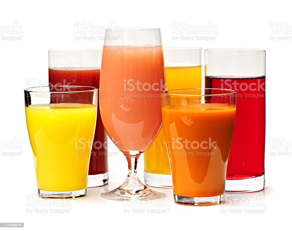 Glasses of various juices royalty-free stock photo