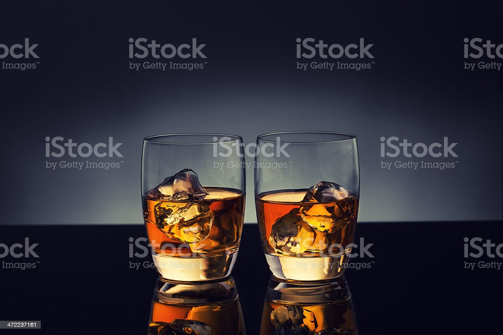 Glasses of Whiskey on Ice royalty-free stock photo