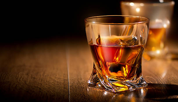 Glasses of whiskey stock photo