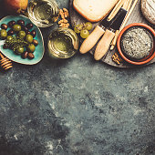 istock Glasses of white sparkling wine with cheese, grapes, nuts , olives and honey 1136422909