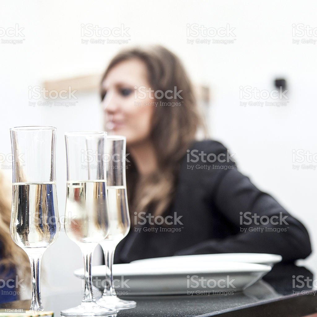 Glasses of white wine - Aperitif served in a bar stock photo