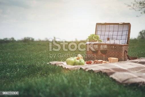 Enjoying nature and romance. Low angle of basket near healthy food and wineglasses on meadow. Copy space