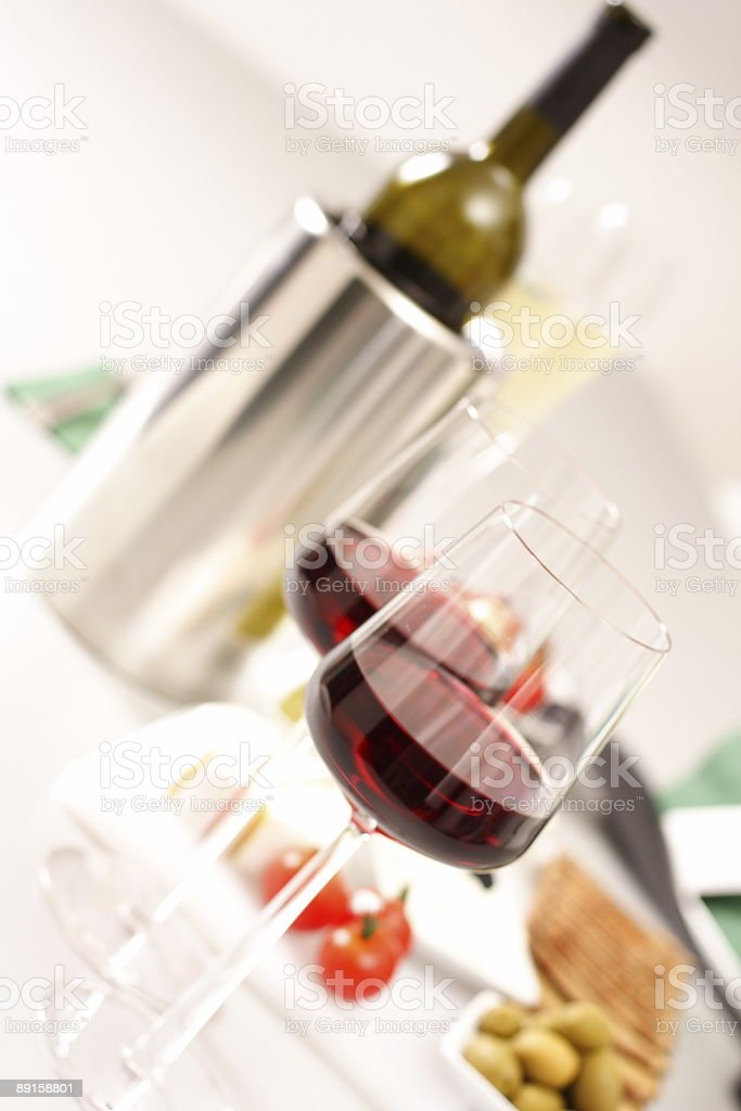 Glasses of  wines with bottle royalty-free stock photo