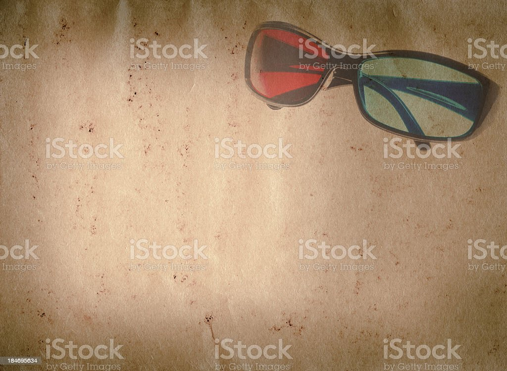 3D glasses old grunge paper texture royalty-free stock photo