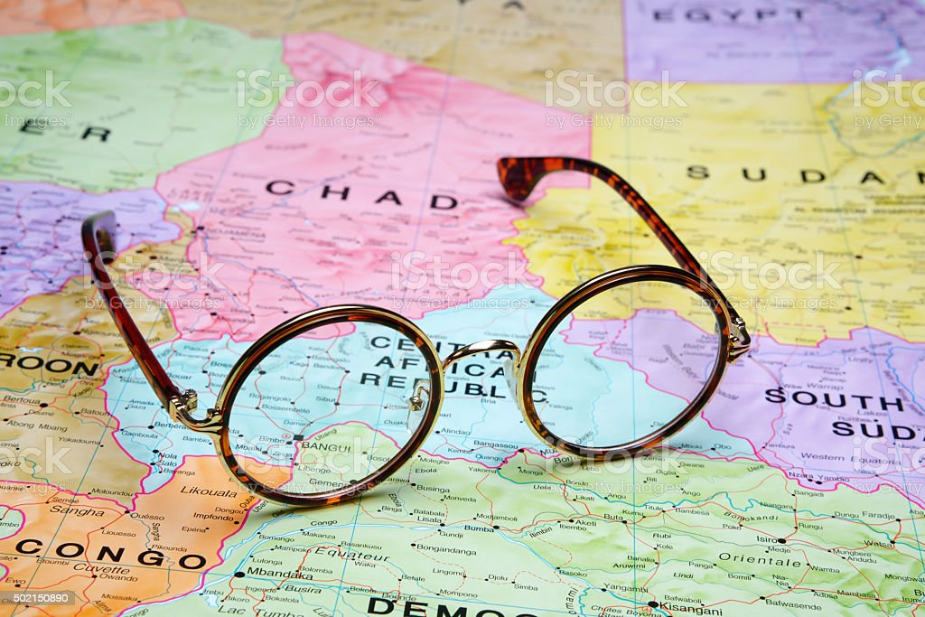 Glasses on a map - Bangui stock photo