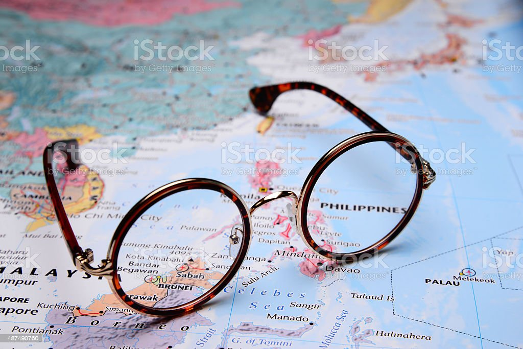 Map Of Asia Brunei.Glasses On A Map Of Asia Brunei Stock Photo More Pictures Of 2015