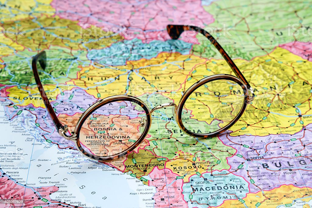 Glasses on a map of europe - Bosnia and Herzegovina stock photo
