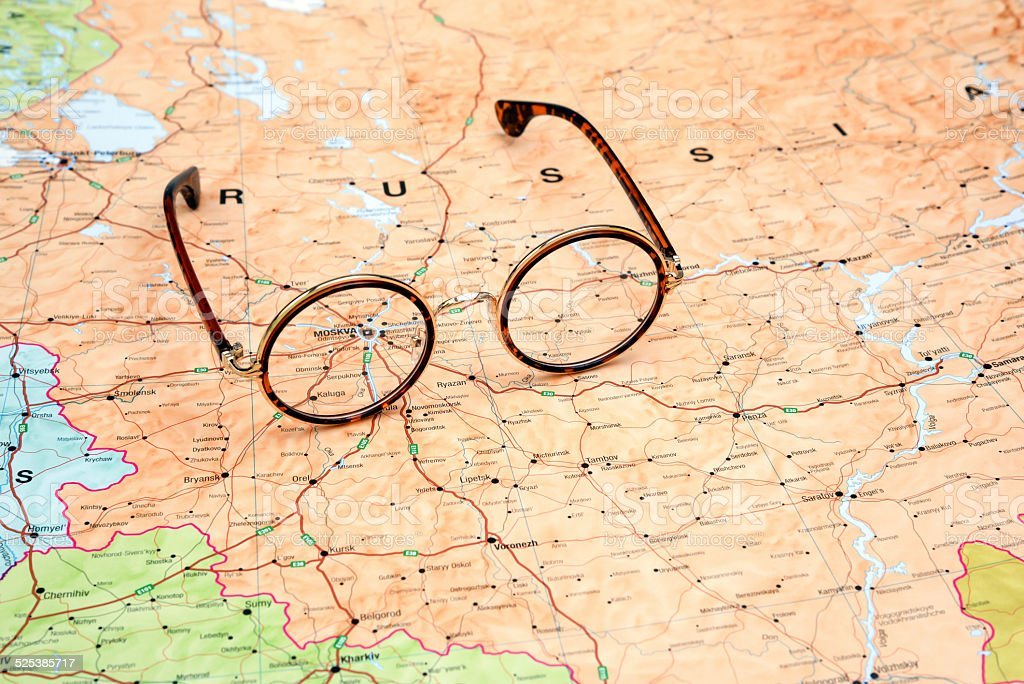 Glasses On A Map Of Europe Moscow Stock Photo More Pictures Of