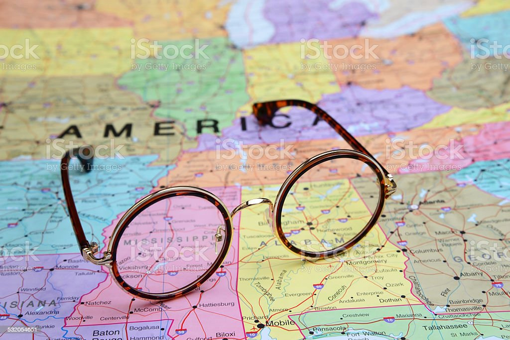Glasses on a map of USA - Mississippi stock photo