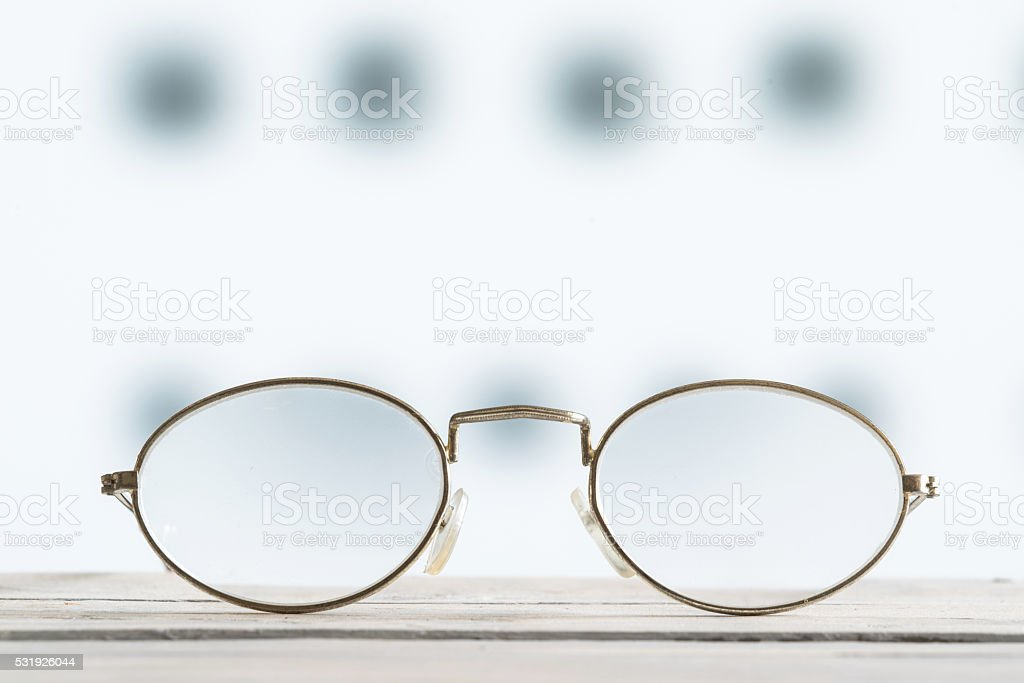 Glasses on a table with blurry background stock photo