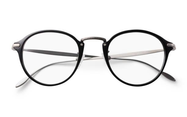 Óculos em um fundo branco com traçado de recorte - foto de acervo