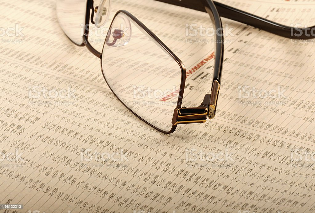 Glasses On Business Report royalty-free stock photo