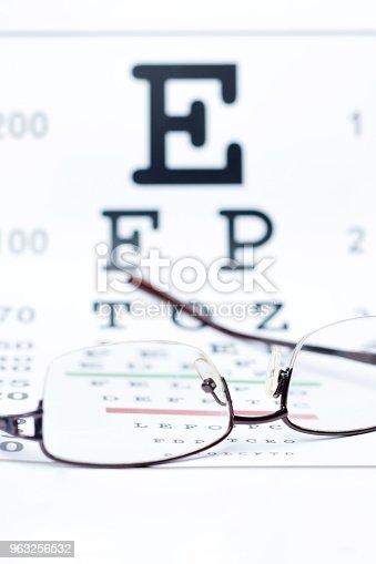 istock Glasses on eye chart 963256532