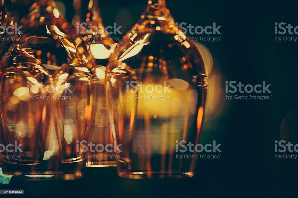Glasses on rack stock photo
