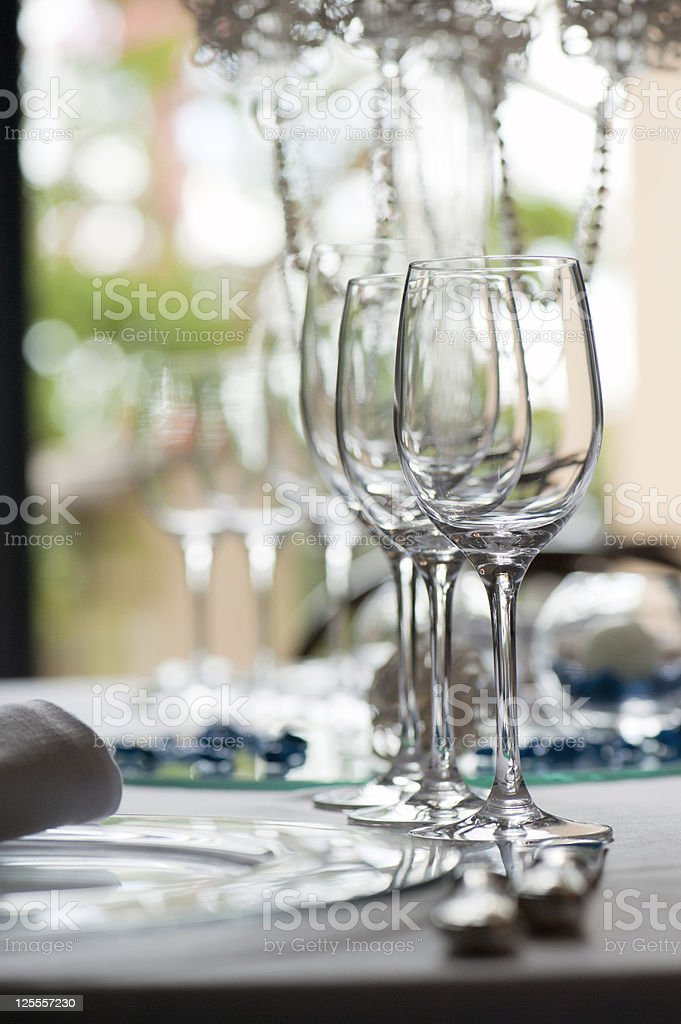 glasses on table set royalty-free stock photo