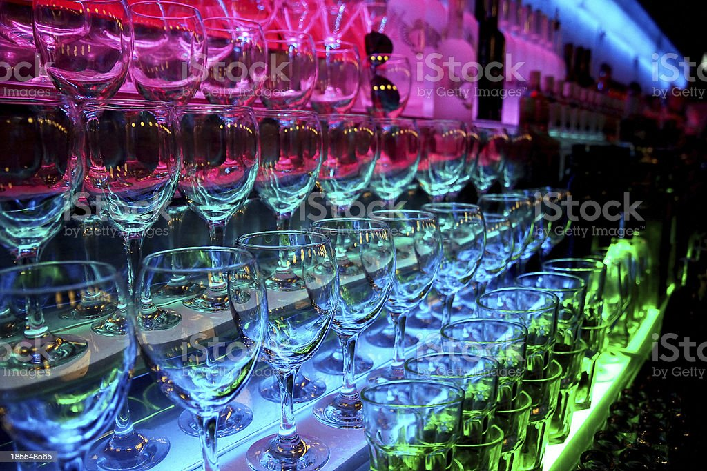 Glasses on the bar in the nightclub royalty-free stock photo