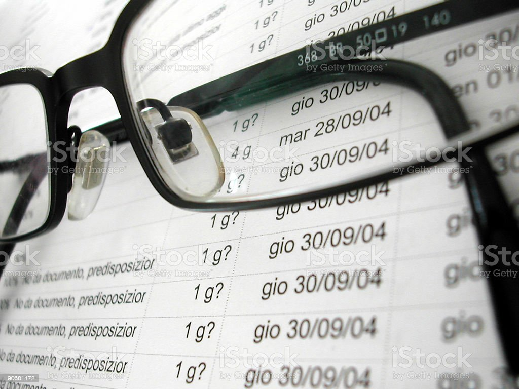 glasses on the project  Business Stock Photo