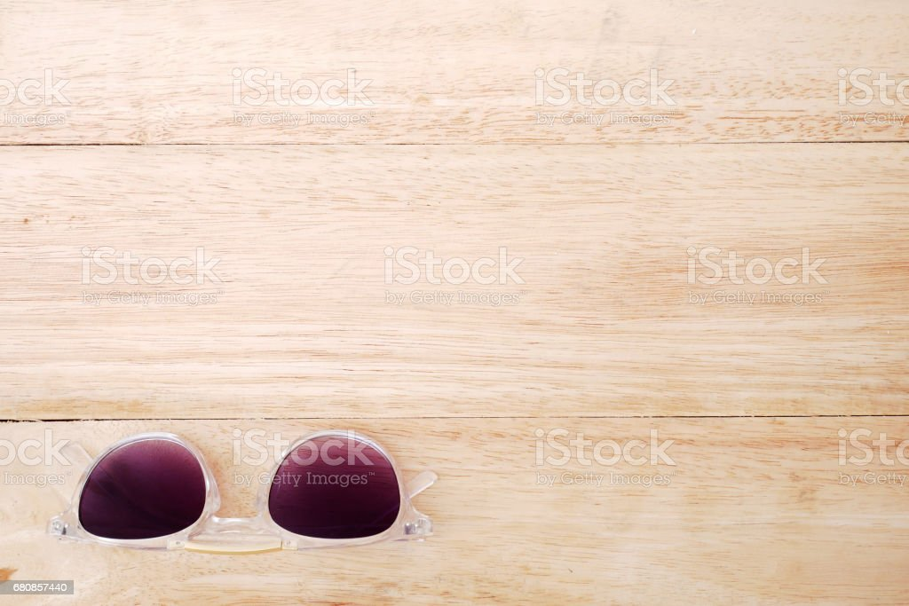 Glasses on wooden background royalty-free stock photo