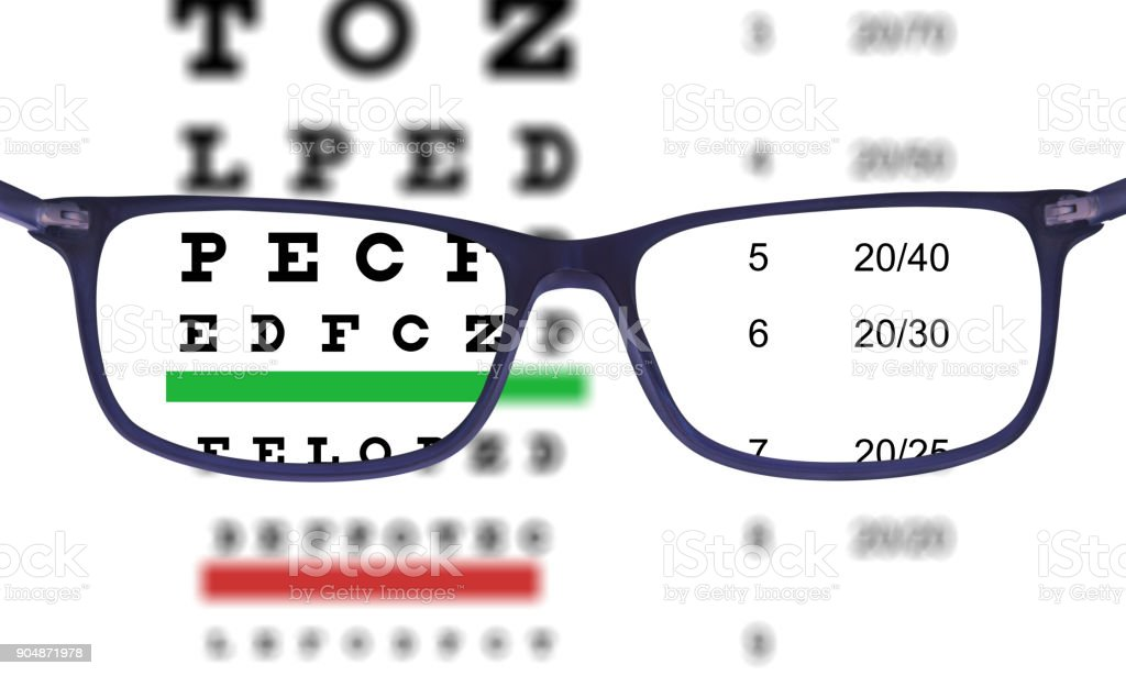 Glasses seen from inside, isolated on white, eye exam chart - foto stock