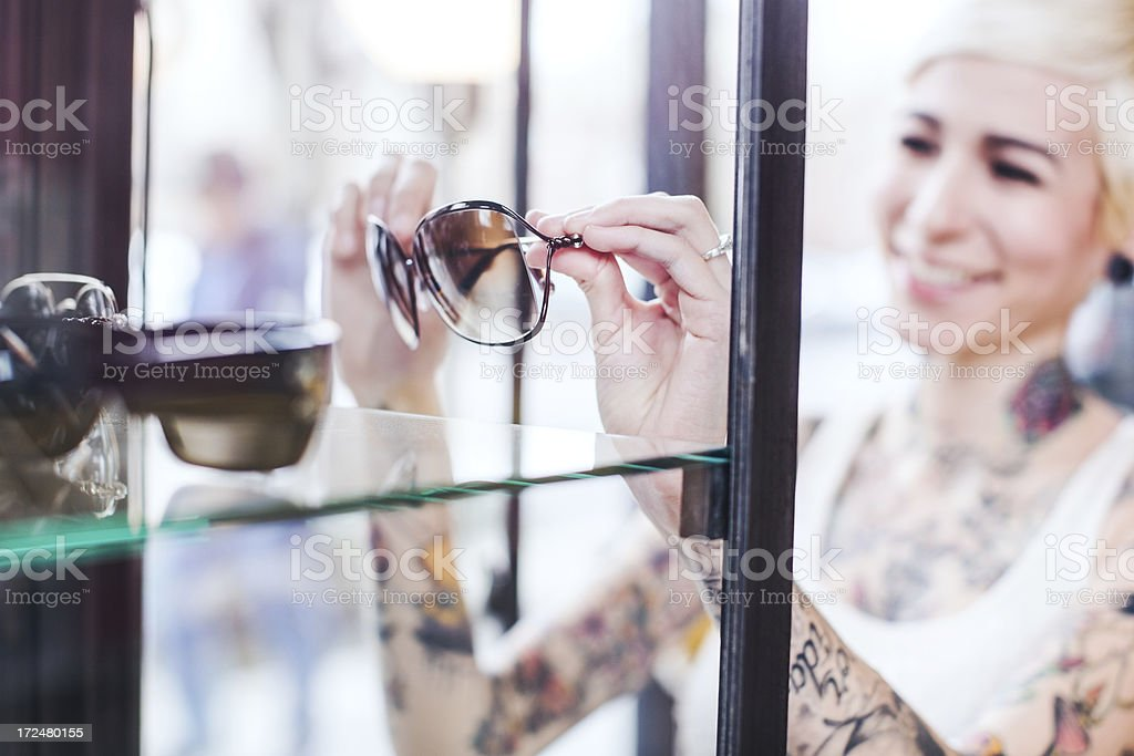 Glasses Shopping Young Woman royalty-free stock photo