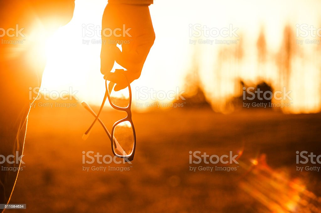 Glasses Sunset stock photo
