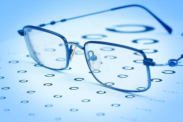 Glasses to improve vision on the test card. stock photo