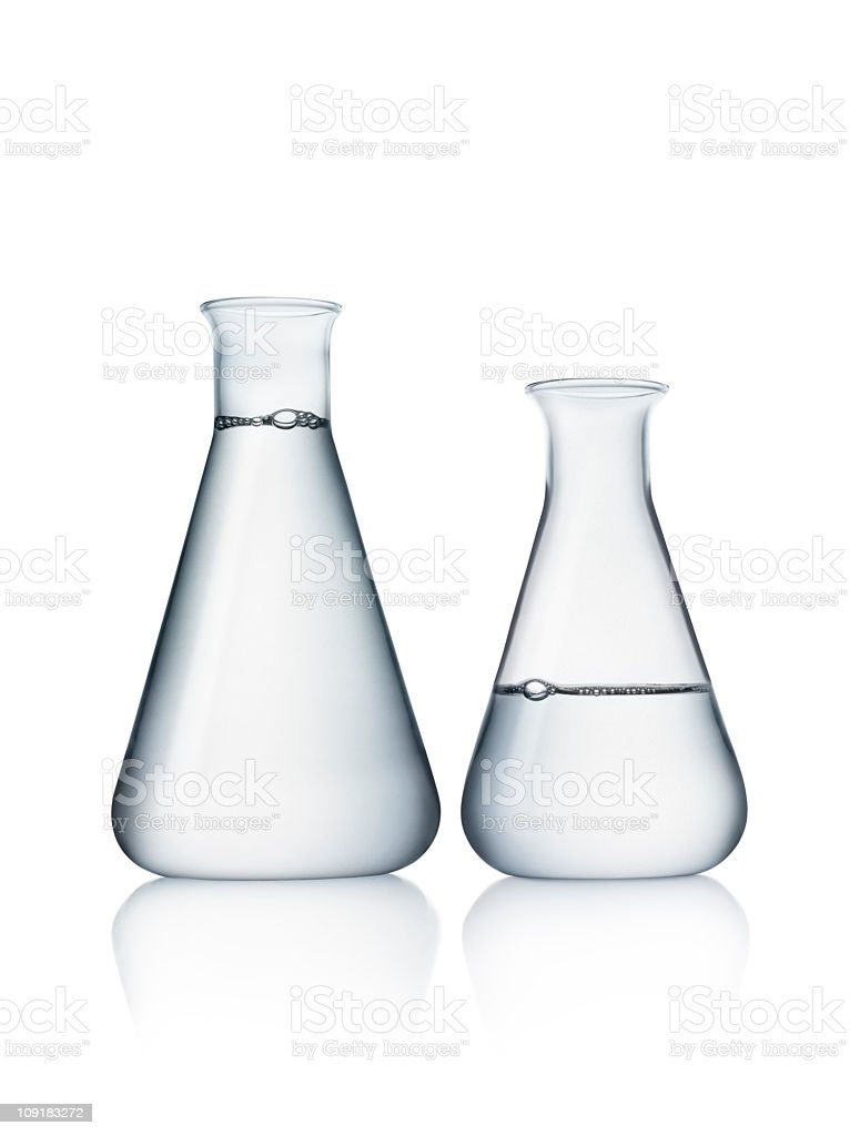 Glasses used for solutions in chemical labs royalty-free stock photo