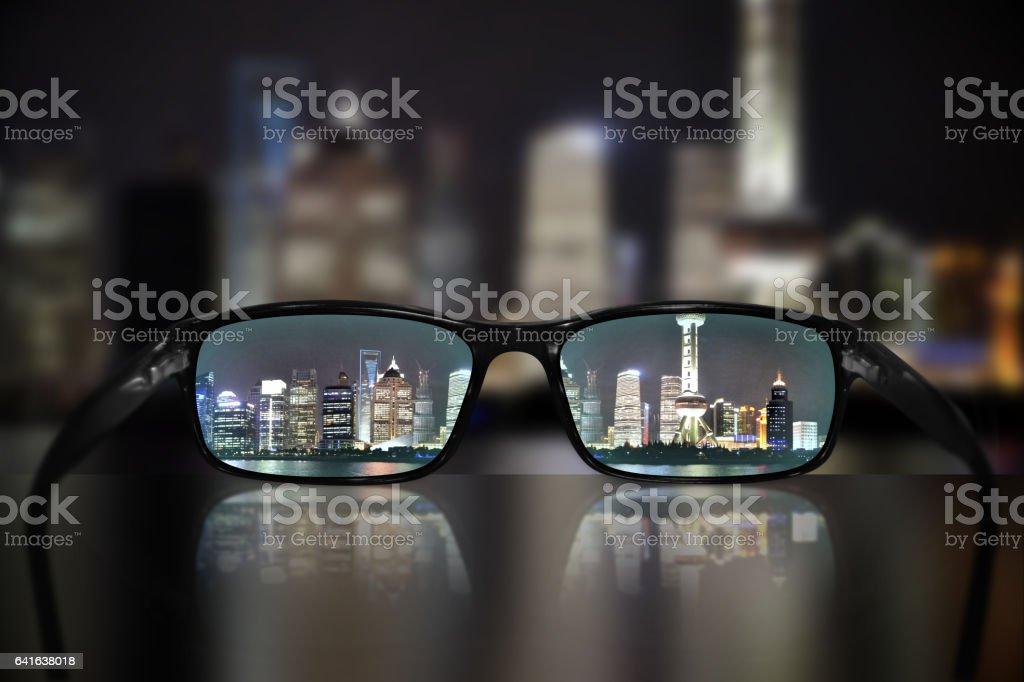 Glasses, vision concept, Shanghai stock photo