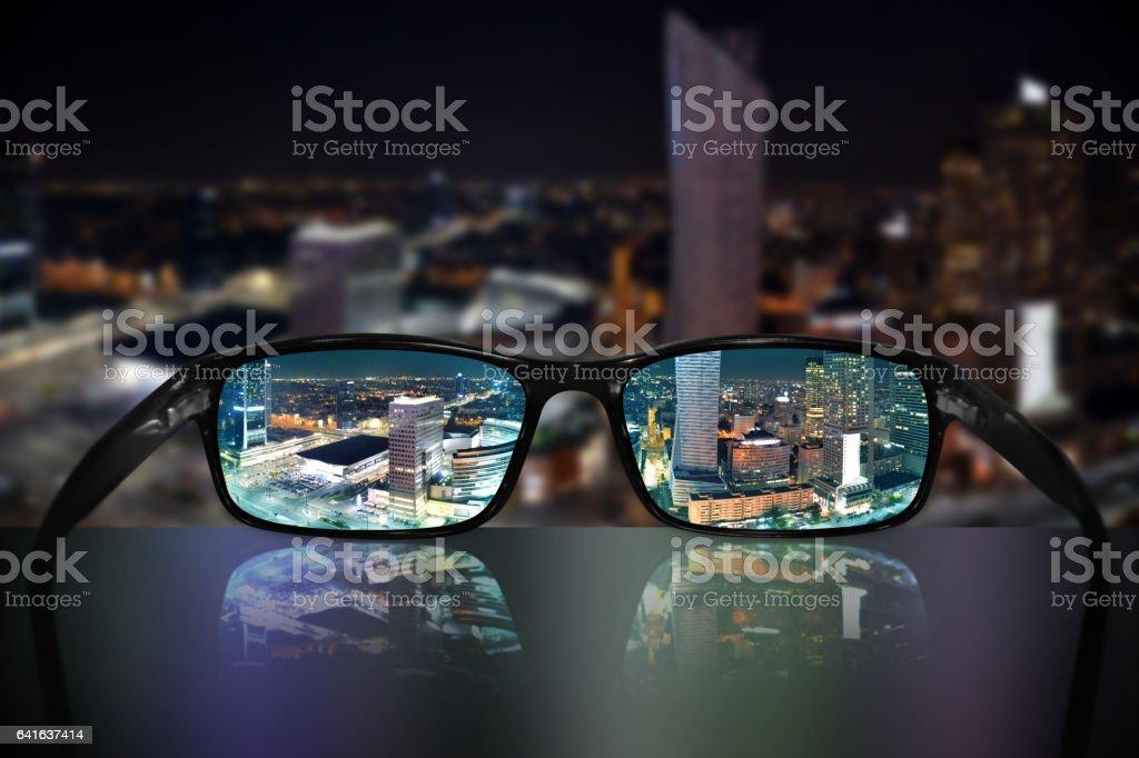 Glasses, vision concept, Warsaw stock photo