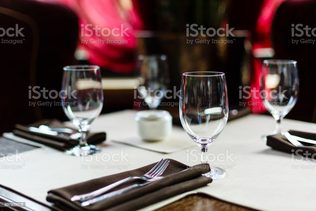 Glasses wine on table in sushi restaurant Serving in the restaurant on the table stock photo