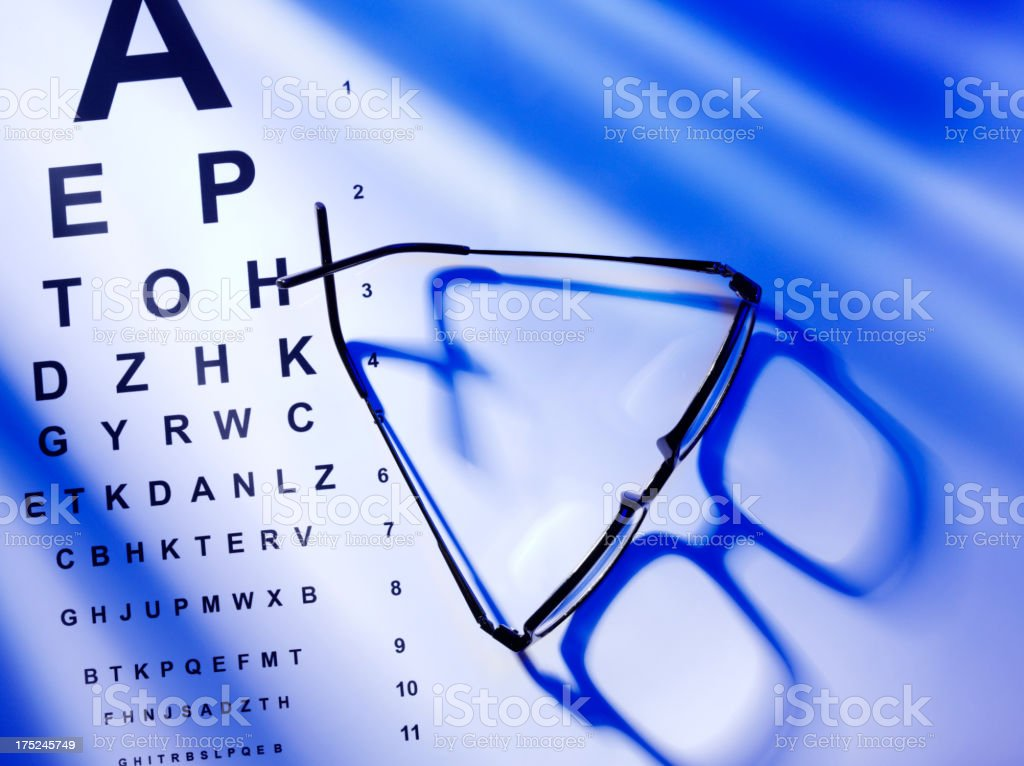 Glasses with a Eye Test Chart on Paper royalty-free stock photo