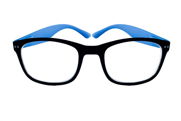 Glasses with black frames stock photo