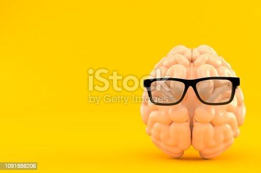 Glasses with brain isolated on orange background. 3d illustration