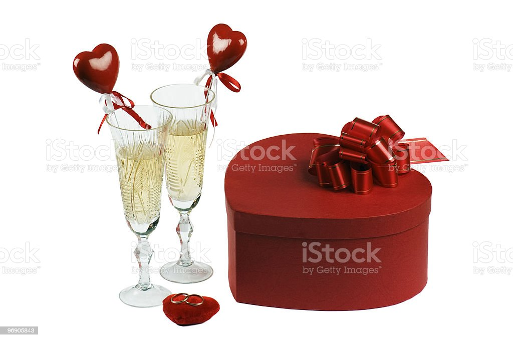 Glasses with champagne for the enamoured royalty-free stock photo