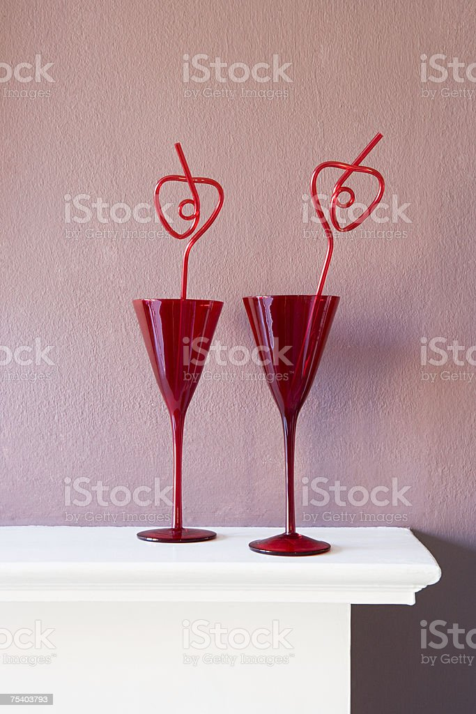Glasses with drinking straws royalty-free stock photo