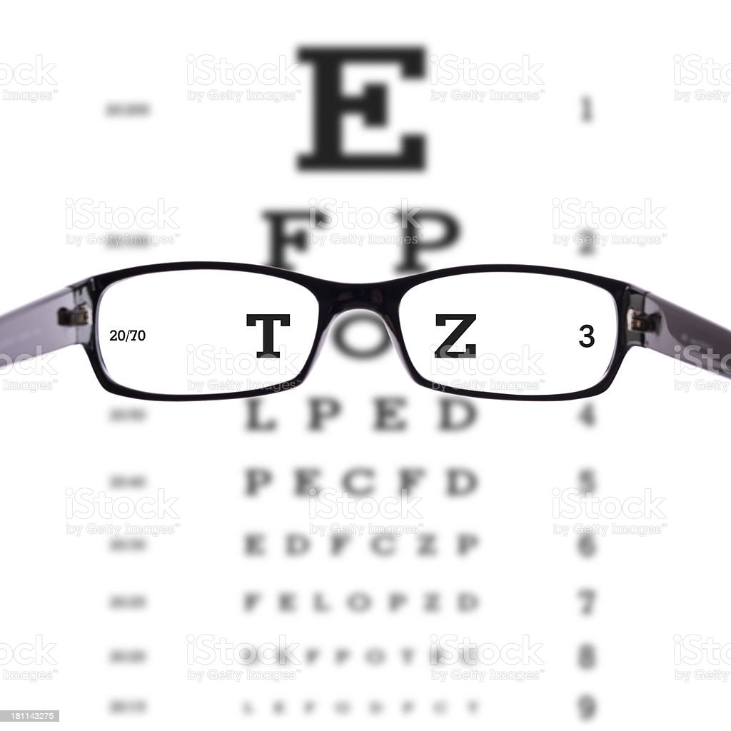 glasses with eye chart royalty-free stock photo